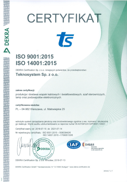 Teknosystem ISO Certyfikat