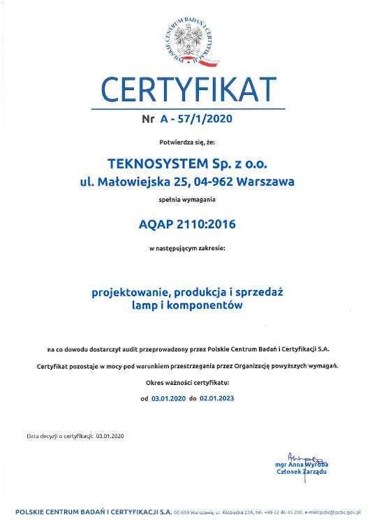 Teknosystem AQAP Certyfikat