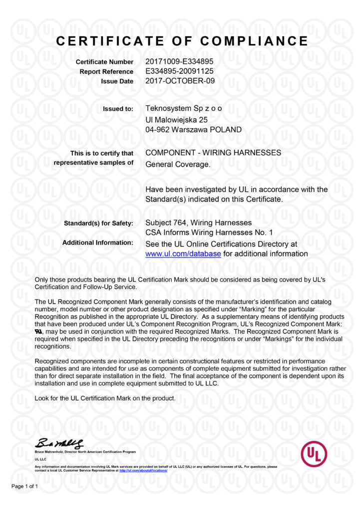 Teknosystem UL Certyfikat