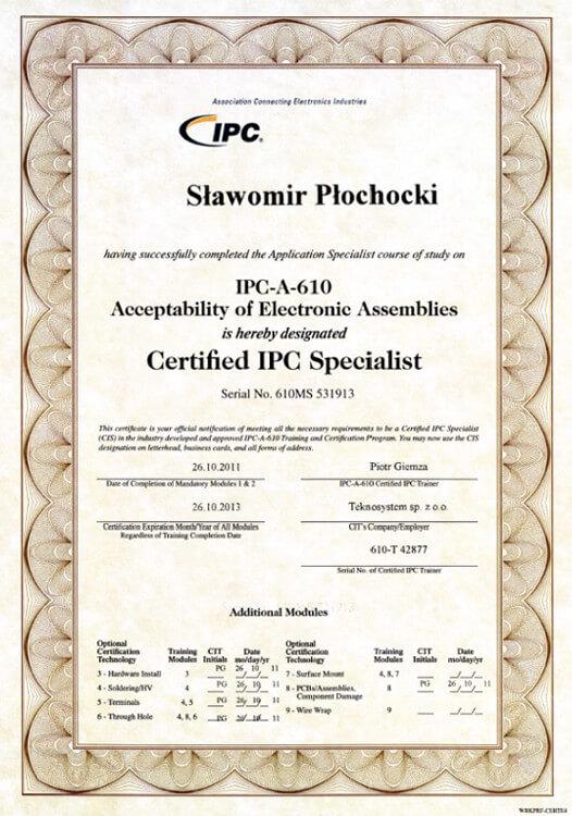 Certyfikat IPC-A-610