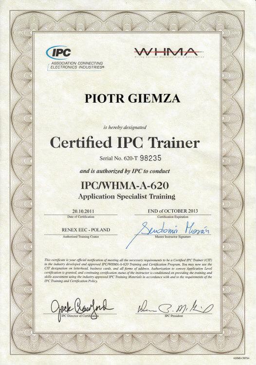 Certyfikat IPC/WHMA-A-620