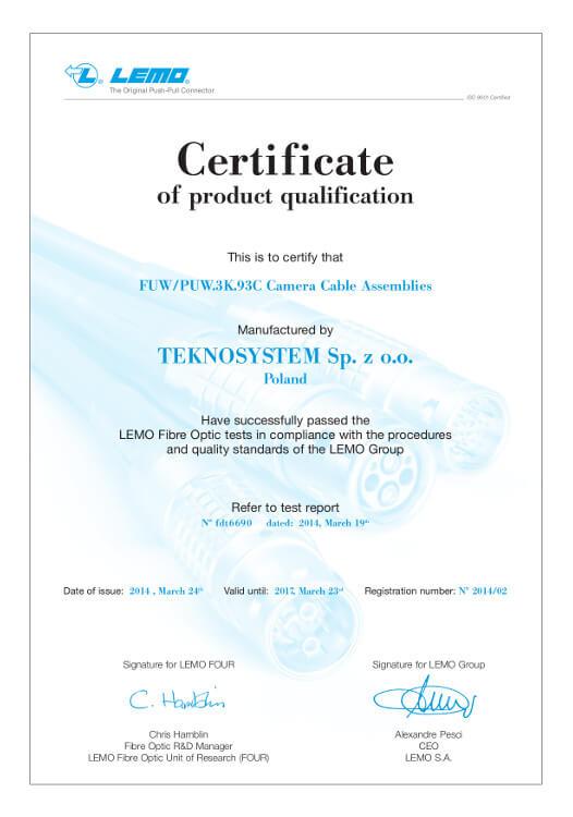 Certyfikat LEMO